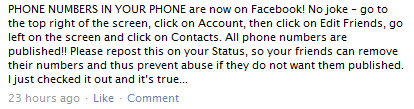Facebook Phonebook Warning